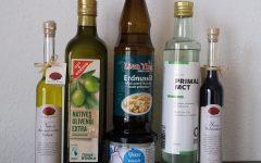Natives Olivenöl extra aus Italien, Natives Olivenöl extra von Edeka, Erdnussöl, veganes Kokosöl
