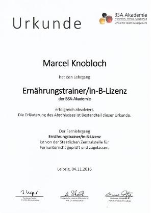 Urkunde Ernährungstrainer B-Lizenz